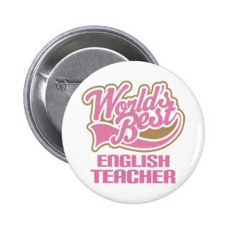 Niedliche rosa Weltbester englischer Lehrer Anstecknadel