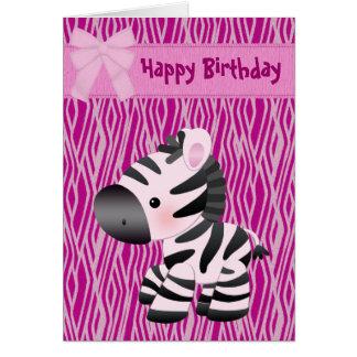 Niedliche rosa Zebra-u. Kuchen-(nach innen) Karte