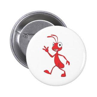 Niedliche rote Ameisen-gehende wellenartig bewegen Runder Button 5,1 Cm