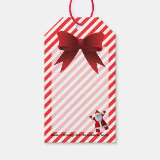 Niedliche rote Bogen-frohe Weihnacht-Streifen Geschenkanhänger
