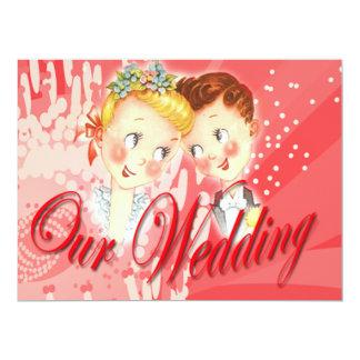 Niedliche rote Braut-u. 16,5 X 22,2 Cm Einladungskarte