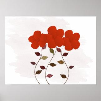 Niedliche rote mit Blumenanemonen, die Poster