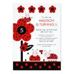 Niedliche rote u. schwarze Marienkäfer-Geburtstags Individuelle Einladungskarte