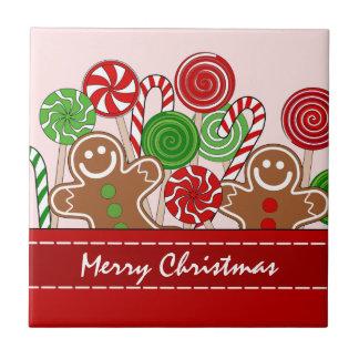 Niedliche rote Weihnachtslebkuchen Keramikfliese