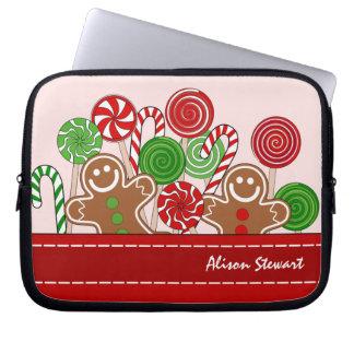 Niedliche rote Weihnachtslebkuchen Laptopschutzhülle