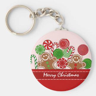 Niedliche rote Weihnachtslebkuchen Schlüsselanhänger