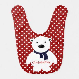 Niedliche rote/weiße Polka-Punkte, polarer Bär, Lätzchen