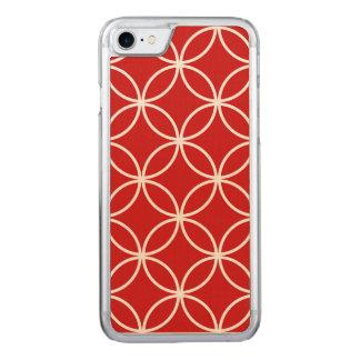 Niedliche rotes und weißes Muster-geometrische Carved iPhone 8/7 Hülle