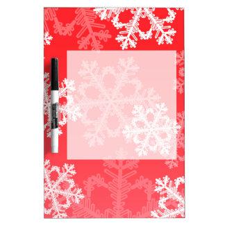Niedliche rotes und weißes Weihnachtsschneeflocken Trockenlöschtafel