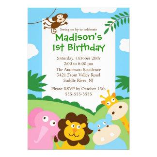 Niedliche Safari-1 Geburtstag Einladungskarte