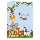 Niedliche Safari-Dschungel-Baby-Tiere danken Ihnen Karte