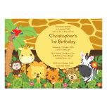 Niedliche Safari-Dschungel-Geburtstags-Party Personalisierte Einladungskarten