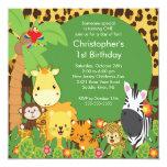 Niedliche Safari-Dschungel-Geburtstags-Party Quadratische 13,3 Cm Einladungskarte
