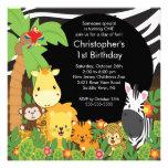 Niedliche Safari-Dschungel-Geburtstags-Party Personalisierte Einladungskarte