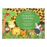 Niedliche Safari-Dschungel-Geburtstags-Party Einladungskarten