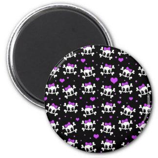 Niedliche Schädel Runder Magnet 5,1 Cm
