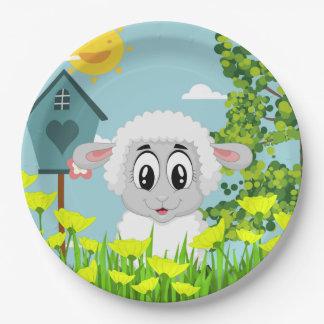 Niedliche Schafe im Yard Pappteller
