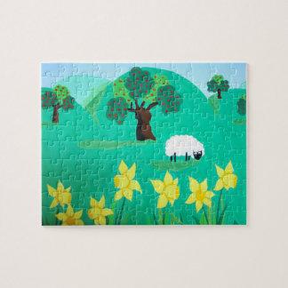 niedliche Schafe mit Baumhügeln Kinder des blauen Puzzle