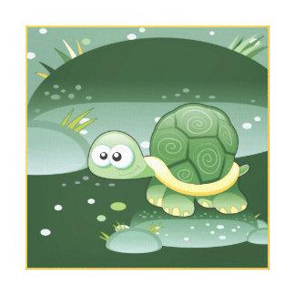 Niedliche Schildkröte scherzt die Raum Leinwanddruck