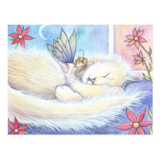 Niedliche Schlafenkatze und Fee-Postkarte Postkarte