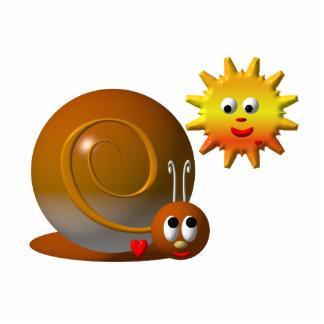 Niedliche Schnecke mit lächelnder Sonne Freistehende Fotoskulptur