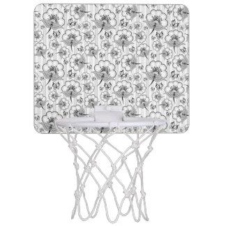 Niedliche Schwarz-weiße nahtlose Blumenmuster Mini Basketball Netz