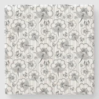 Niedliche Schwarz-weiße nahtlose Blumenmuster Steinuntersetzer