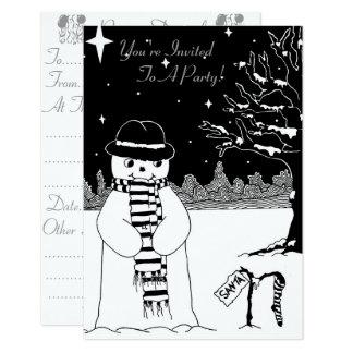 Niedliche Schwarz-weiße Snowmanweihnachtseinladung Karte