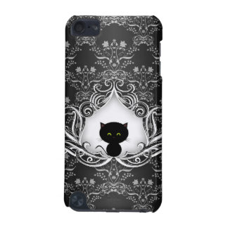 Niedliche schwarze Katze auf Damast iPod Touch 5G Hülle