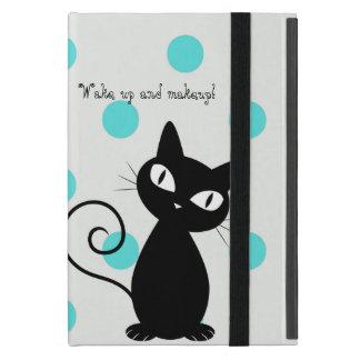 Niedliche schwarze Katze, Polka Punkt-Wecken oben iPad Mini Hüllen
