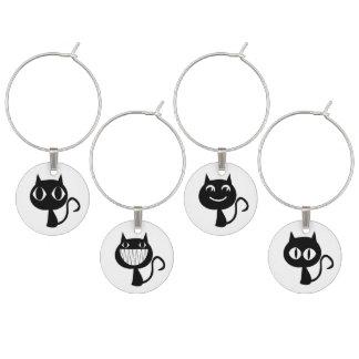 Niedliche schwarze Katzen-Ausdrücke Weinglas Anhänger