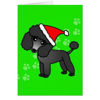 Niedliche schwarze Pudel-Cartoon-Weihnachtsmannmüt Grußkarte