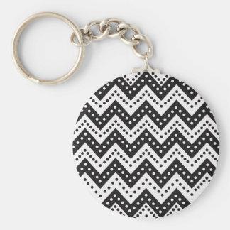 Niedliche schwarze Punkt-Zickzacke Schlüsselanhänger