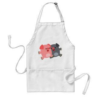 Niedliche Schwarzweiss-Cartoon-Schwein-Schürze Schürze
