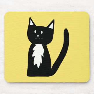 Niedliche Schwarzweiss-Tuxedo-Katze Mousepad