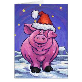 Niedliche Schwein-Feiertags-Karte Karte