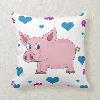 Niedliche Schwein-Kissen-Herzen und Blumen Kissen