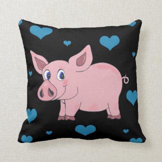 Niedliche Schwein-Schwarz-Kissen-Herzen und Blumen Kissen