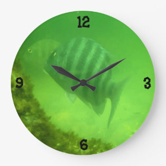 Niedliche Schwimmen-Fisch-Unterwasserphotographie Große Wanduhr