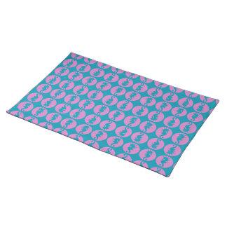 Niedliche Seepferde in rosa und in aquamarinem Tischset