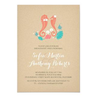 niedliche Seepferdstrand-Verlobungs-Party 12,7 X 17,8 Cm Einladungskarte