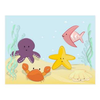 Niedliche Seetiere Postkarte