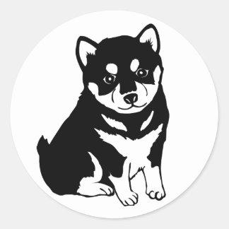 Niedliche Shiba Inu Welpen-Kunst Runder Aufkleber