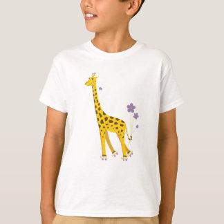 Niedliche Skaten-Giraffen-Kinder T-Shirt