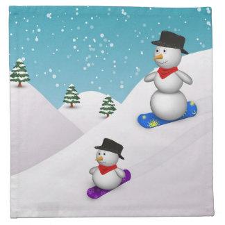 Niedliche SnowboardingSnowmen - Stoff-Serviette Stoffserviette