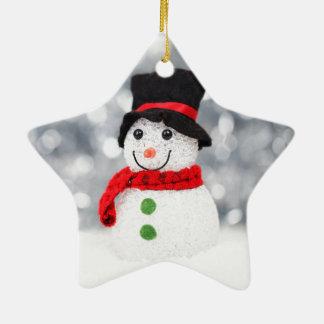 Niedliche Snowman-Verzierung für Weihnachten Keramik Stern-Ornament