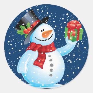 Niedliche Snowman-Weihnachtsaufkleber Runder Aufkleber