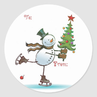 Niedliche Snowman-Weihnachtsgeschenkumbauten Runder Aufkleber