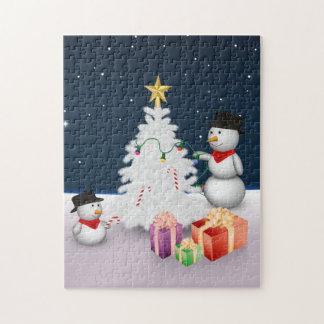 Niedliche Snowmen mit Weihnachtsbaum - Puzzlespiel Puzzle