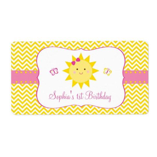 Niedliche Sonnenschein-Geburtstags-Bevorzugung Versandetiketten